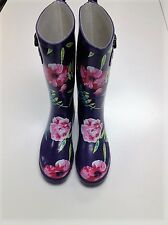 Navy Floral Rubber Rain Boots Size 6 Never Worn