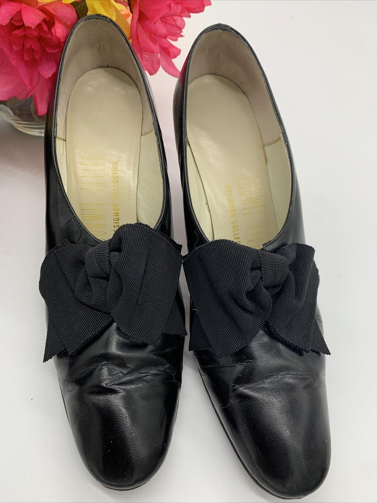 Antique Edwardian Bonwit Teller Black Leather Sho… - image 10