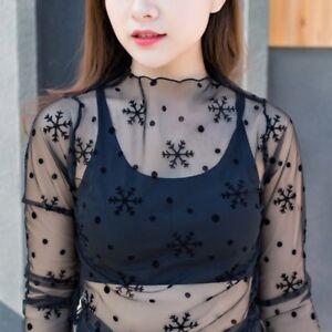 Women-Fashion-Mesh-Sheer-Long-Sleeve-T-Shirt-See-through-Cover-Up-Blouse-Tops