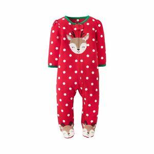 da0374ed9807 Carters Infant Girls Reindeer Sleeper Footed Fleece Christmas ...