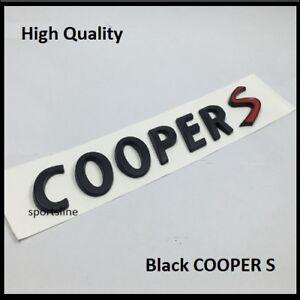 Black Cooper S Badge Emblem Decal Letters Sticker Mini Boot Tailgate