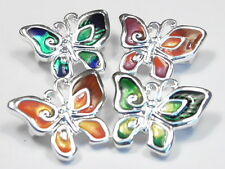 4 - 2 HOLE SLIDER BEADS, LINKS OR CONNECTORS BRIGHT MULTI COLOR ENAMEL BUTTERFLY