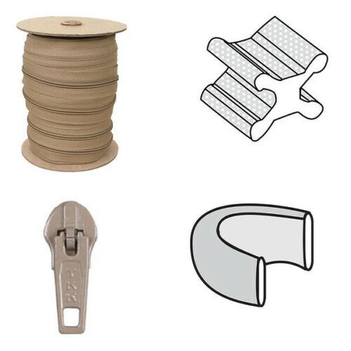 10 Slides and Top /& Bottom Stop Sets 6 Yard Nylon  Zipper chain #4.5 TAN