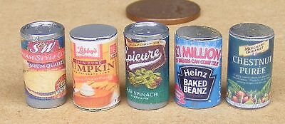 1:12 Scale Selection Of 6 Large Tins Tumdee Dolls House Miniature Food Cans VT4