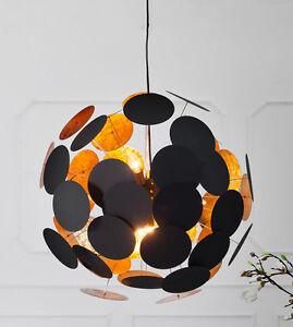 design h ngelampe pendellampe kugellampe spots 70cm schwarz gold retro lounge ebay. Black Bedroom Furniture Sets. Home Design Ideas