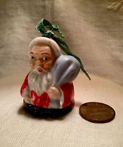 Vintage-1940-039-s-2-1-4-034-Santa-Bell-Miniature-Porcelain-Ornament-Red-Letter-Japan