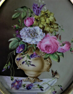 altes-Blumenbild-mit-Schmetterling-Porzellan-Gemaelde-37x30