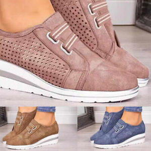 Women-Casual-Shoes-Breathable-Slip-on-Platform-Hidden-Wedge-Heel-Sneakers-Loafer