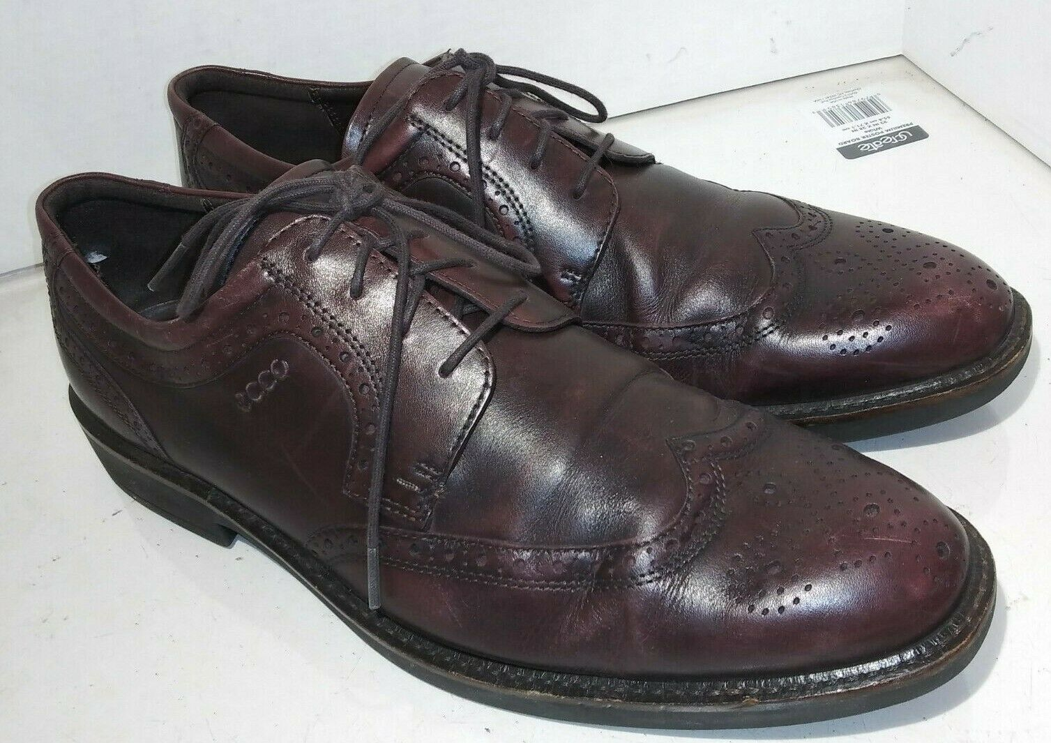 ECCO Mens MELBOURNE Cocoa Leather Wing Tip Dress shoes Size 13.5