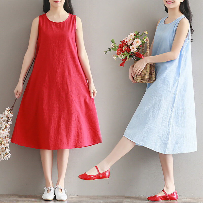 Lady Sundress Cotton Linen Solid A-Line Knee Length Vest Dress Summer Casual Red