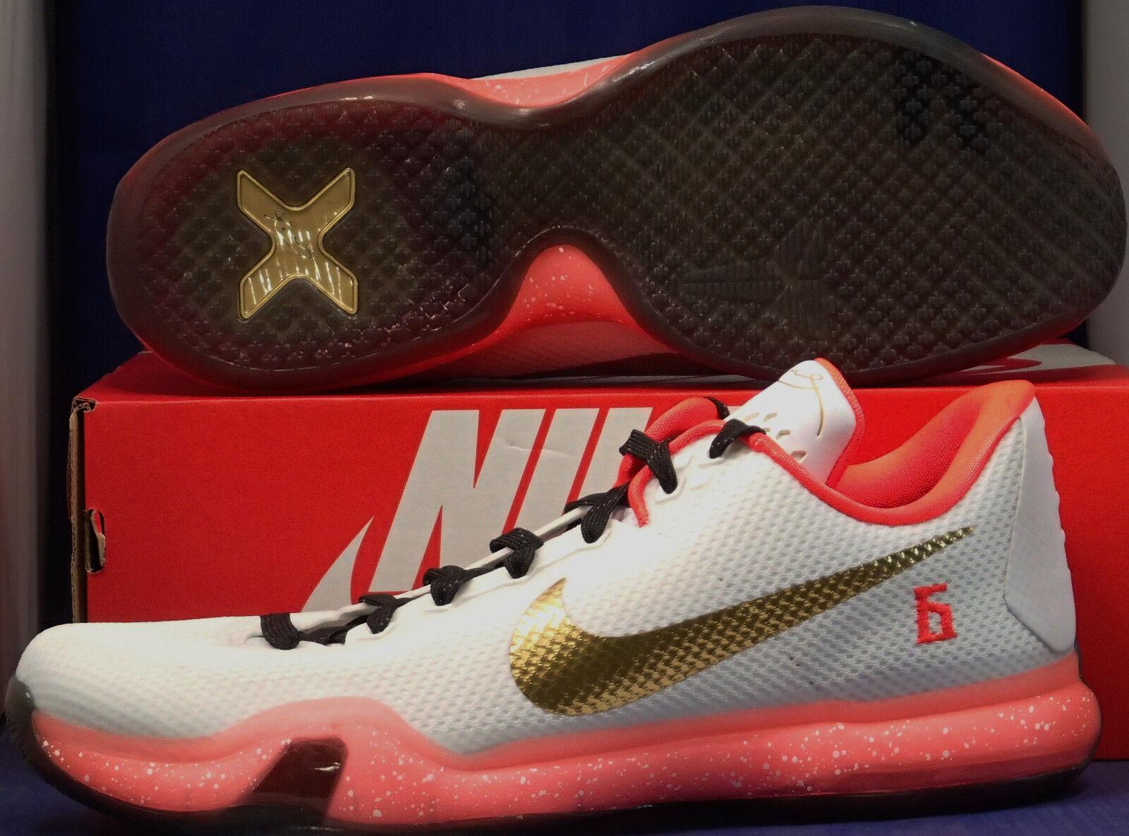 Nike Kobe X 10 iD White Bright Crimson Metallic gold Black SZ 13 ( 777411-971 )
