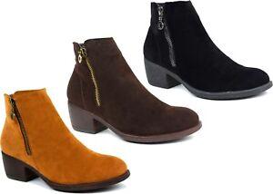 Ladies-New-Side-Zipper-Suede-Low-Block-Heel-Ankle-Boot-UK-Size-3-8