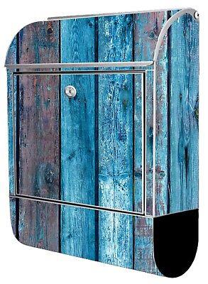 Wunschname Postkasten Zeitungsrolle EK133 Briefkasten mit Motiv Holzwand blau