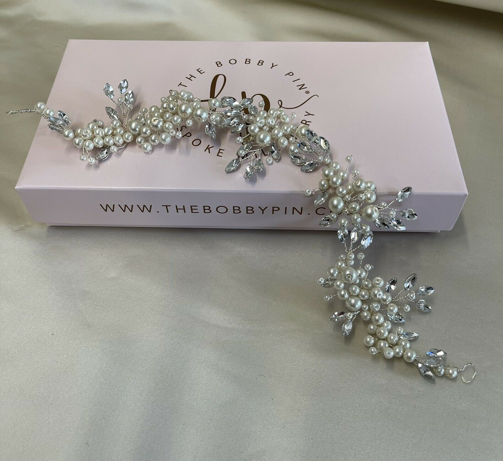 Stunning Silver Bridal Hair Vine/Tiara with Crystals & Pearls - UK Seller
