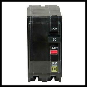 SQUARE D QO250 2 POLE 50 AMP 120//240V PLUG-IN QO CIRCUIT BREAKERS