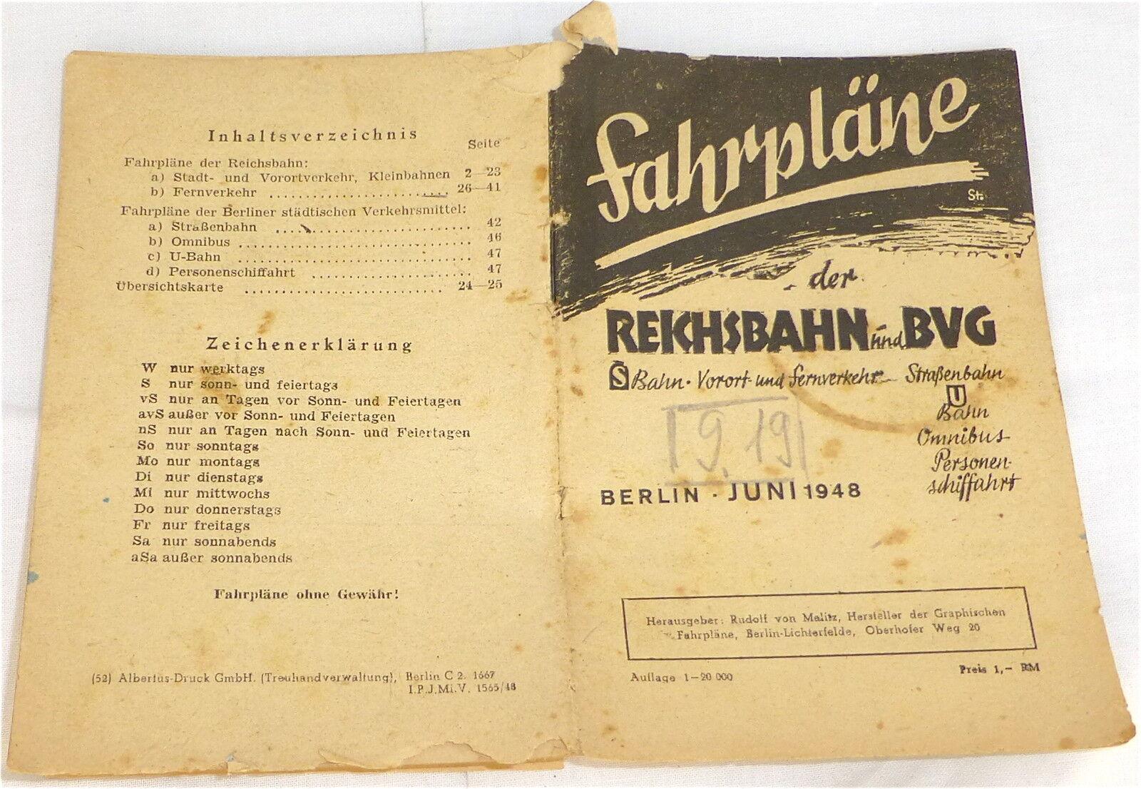 Orari del Reich ferroviario U. BVG Berlino giugno 1948 Å *