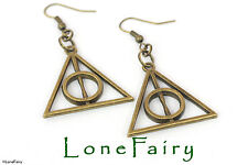 Bronze Plated Harry Potter Deathly Hallows Earrings Wizard...Necklace available