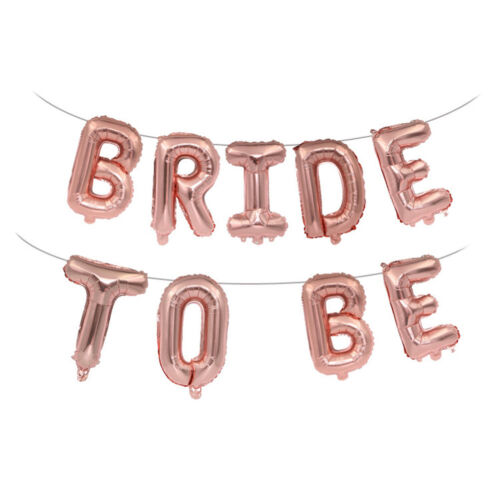 16 inch 9pcs Rose Gold Bride To Be Hanging Letter Foil Balloon Hen Party DePRUK