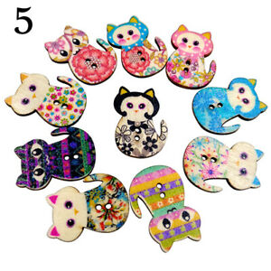50-Pcs-Wooden-Cake-Cat-Buttons-Sewing-Scrapbooking-Crafts-DIY-2-Holes-Retro