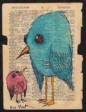 GUS FINK art outsider artist pop magic lowbrow fantasy surreal RED BIRD BLUE