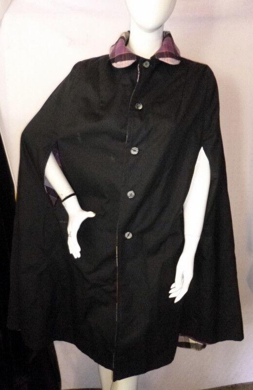 Vintage 1960s ReversiblePLAID/BLACK Cape Coat On… - image 5
