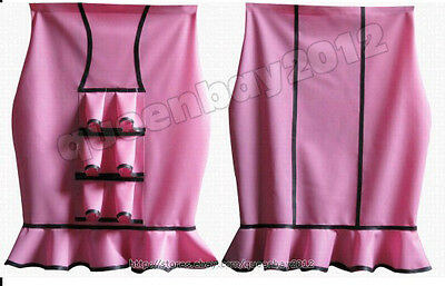 100% Latex Rubber Gummi 0.45mm Skirt Laciness dress Suit Catsuit Party Pink
