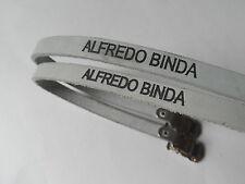 * Raro NOS Vintage 1970s ALFREDO BINDA-Italian leather toe straps (Bianco/Grigio) *
