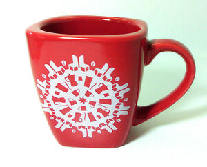 Starbucks-2004-Red-Christmas-Square-Snowflake-Mug-12-oz-Cup-Coffee-Tea