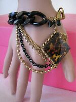 Betsey Johnson Leopard Pyramid Lucite Multi Chain Statement Braceletnwtrare