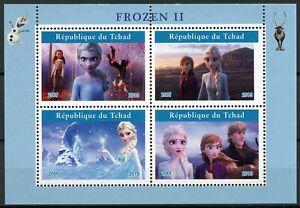 Chad-DISNEY-FRANCOBOLLI-2019-Gomma-integra-non-linguellato-congelati-2-Elsa-Olaf-cartoni-animati