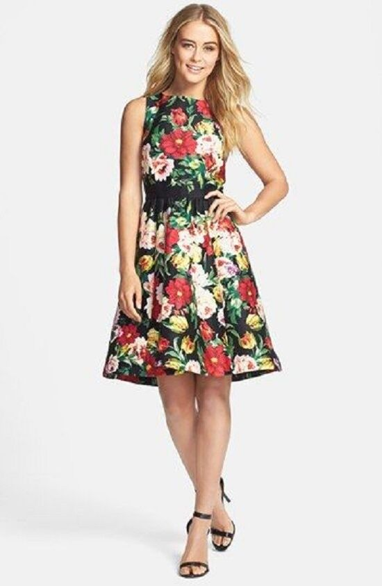 66 GABY SKYE FLORAL PRINT STRETCH COTTON FIT & FLARE DRESS  SZ 4