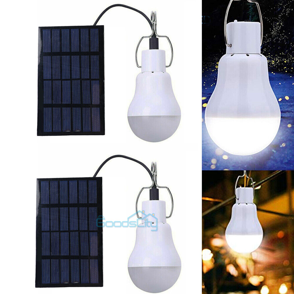 15W Solar Power Panel LED Light Bulb Portable Indoor Outdoor Camping Tent Lamp