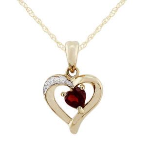 9ct-Yellow-Gold-0-26ct-Garnet-amp-Diamond-Heart-Pendant-on-Chain