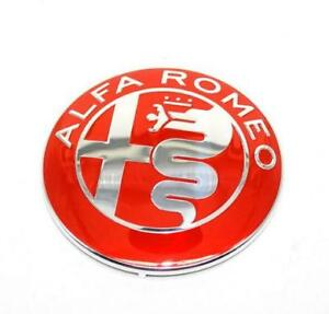 FRONT-GRILLE-EMBLEM-LOGO-BADGE-REAR-TAILGATE-BADGE-74-MM-ALFA-ROMEO-RED