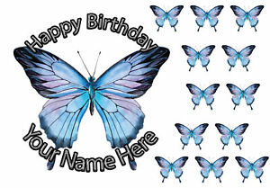 Edible Round Cake Topper Butterfly Birthday Wafer sheet icing sheet.860