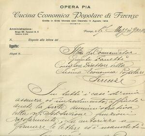 Dettagli su Lettera Cucina Economica Popolare Firenze Autografo Migliore  Torrigiani 1930
