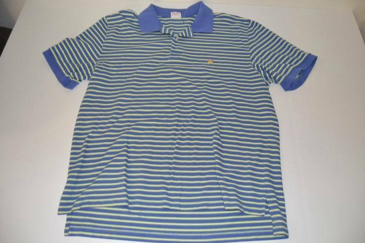 BROOKS BredHERS 346 blueE GREEN STRIPED POLO SHIRT MENS SIZE LARGE L