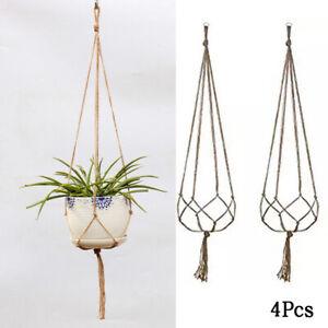 4xGarden-Plant-Hanger-Macrame-Hanging-Planter-Basket-Rope-Flower-Pot-Holder-Kit