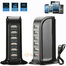 6 Port USB Home Travel Wall AC Charger Fast Charge Power Strip Adapter US Plug