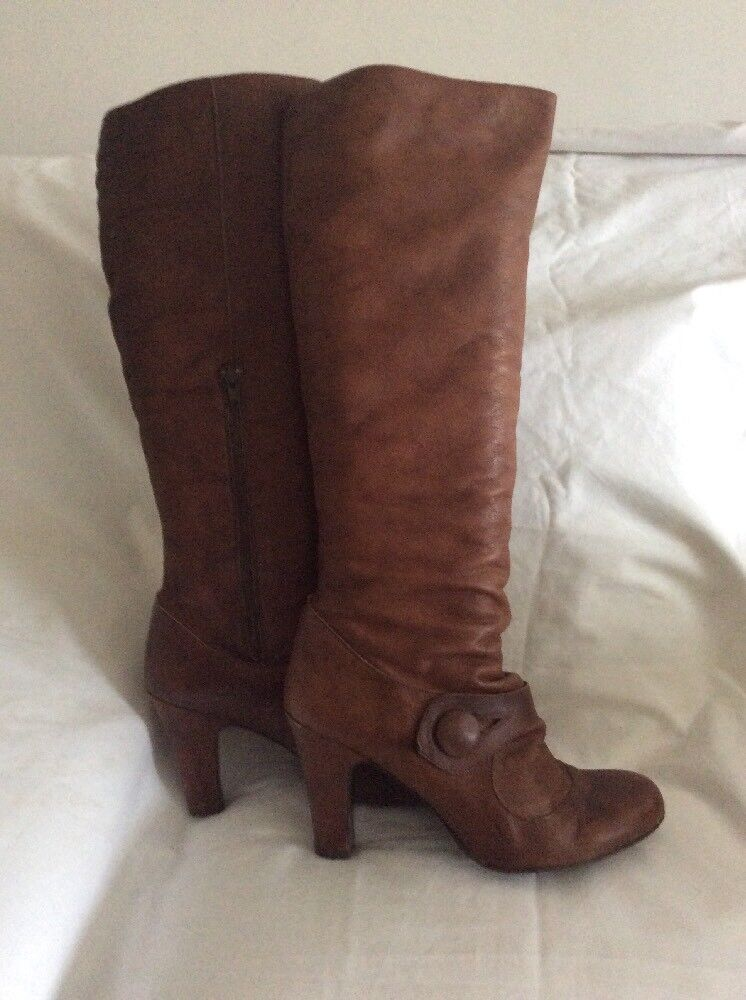 LOOK Dark Tan Brown LEATHER Mid Heel BOOTS Size 8 MADE IN SPAIN
