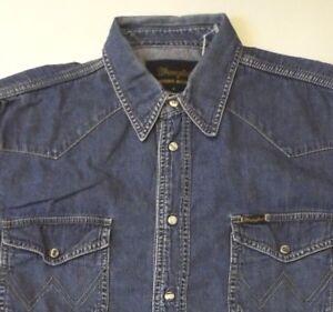 Wrangler-Western-Denim-Shirt-Herren-Marmor-Snaps-Medium-mittelblau-LSHT-559