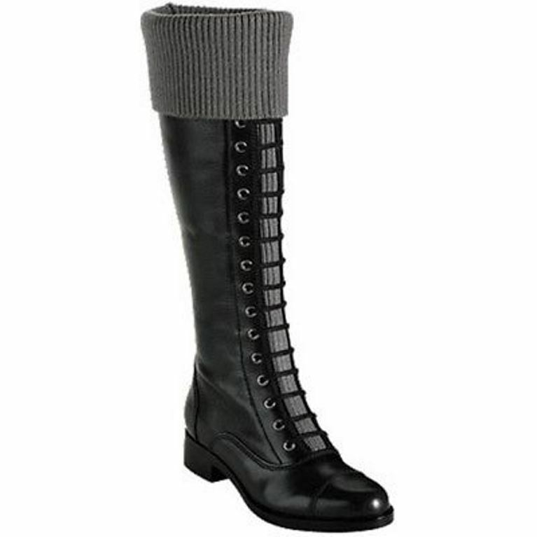 NEW COLE HAAN Air Whitley Lace Up Knit Cuff Black Leather Knee-high Boot Sz US 6