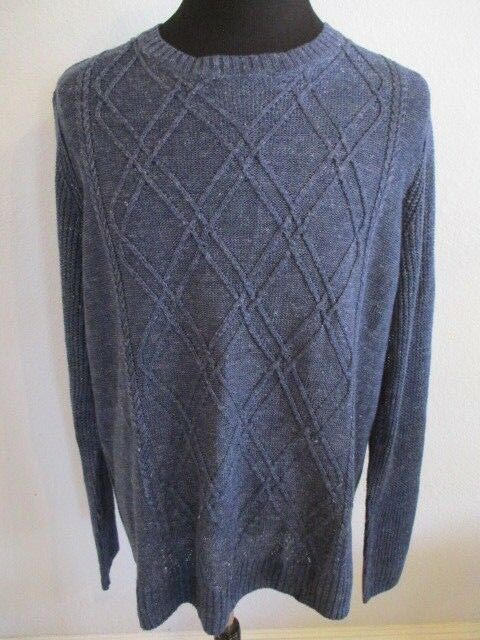 NWT ROBERT GRAHAM 2XL NAVY RANDAI 100% LINEN CABLE FRONT PULLOVER SWEATER 228.