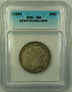 1880-Newfoundland-Queen-Victoria-Silver-50-Cents-ICG-G-6-KM-6