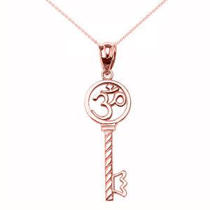 14k Rose Gold Om//Ohm Key Crown Pendant Necklace Yoga and Meditation