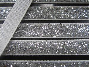 10-Meter-Silber-Borte-Spitze-Nichtelastisch-Lurexband-Glitzerband-1cm-BB-251