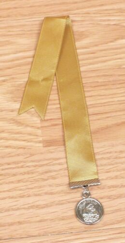 Gold Tone Cloth St. Anthony Ribbon Style Book Mark With Medal Pendant READ