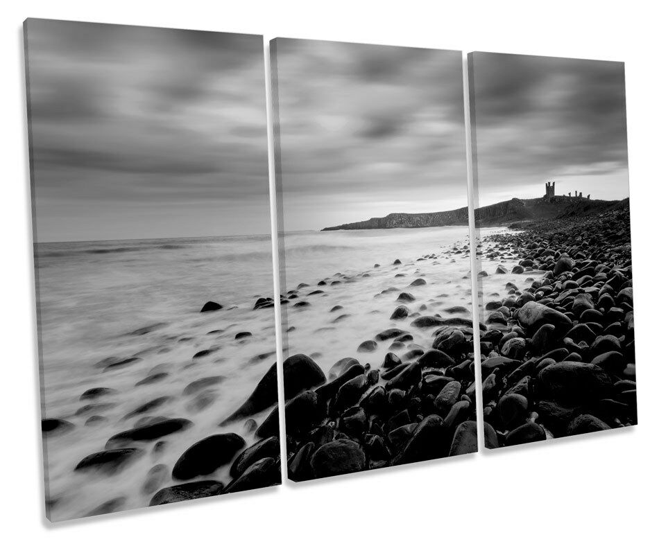 Dunstanburgh Castle Northumberland TREBLE CANVAS WALL ART Box Framed Picture