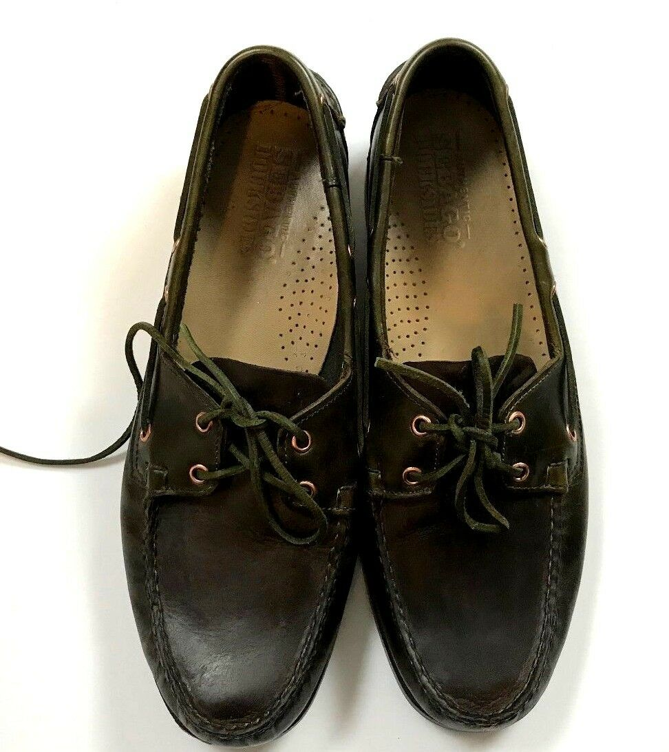 Sebago Docksides Mens Leather shoes Dark Brown Casual Moc Toe Loafers Size 12M