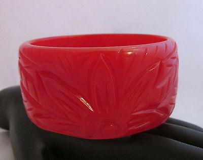 VTG Bakelite Bangle Bracelet Deep Heavy Carved Cherry Red Floral&Leaves X Wide